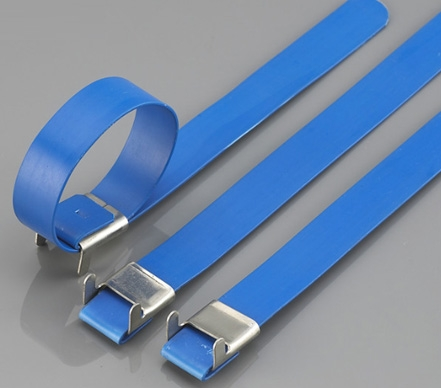 Stainless steel cable tie costed PVC